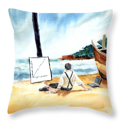 Landscape Throw Pillow featuring the painting Contemplation by Anil Nene