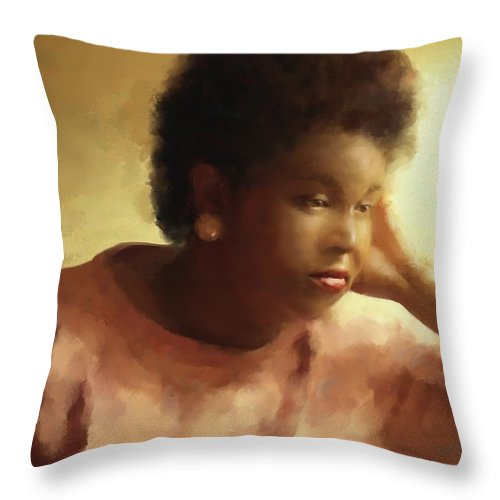 Women Throw Pillow featuring the painting Contemplation by Carver Shivers