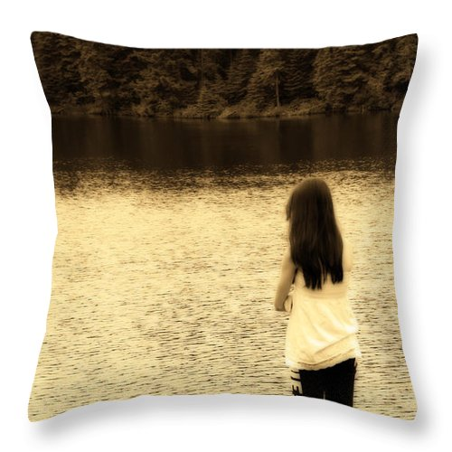 Sepia Throw Pillow featuring the photograph Contemplation by Cathy Beharriell