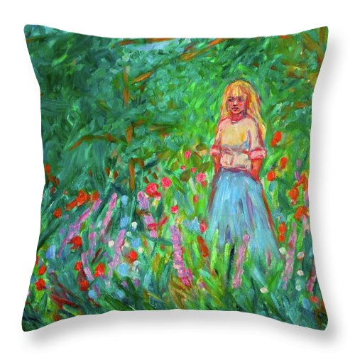 Landscape Throw Pillow featuring the painting Contemplation by Kendall Kessler