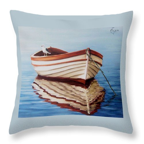 Sea Seascape Boat Reflections Water Ocean Seagull Bird Throw Pillow featuring the painting Contemplative by Natalia Tejera