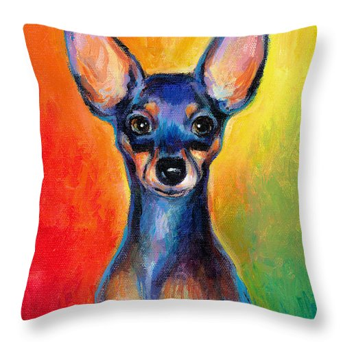 Chihuahua Painting Throw Pillow featuring the painting Contemporary Colorful Chihuahua Chiuaua Painting by Svetlana Novikova
