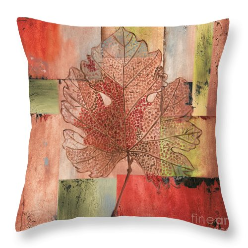 Contemporary Throw Pillow featuring the painting Contemporary Grape Leaf by Debbie DeWitt