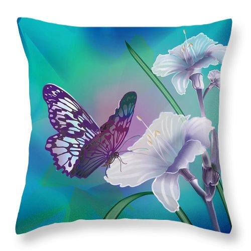 Contemporary Art By Gina Femrite Throw Pillow featuring the painting Contemporary Painting Of A Dancing Butterfly by Regina Femrite