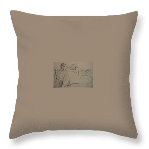 Seduction Throw Pillow featuring the painting Contentment by Lizzy Forrester