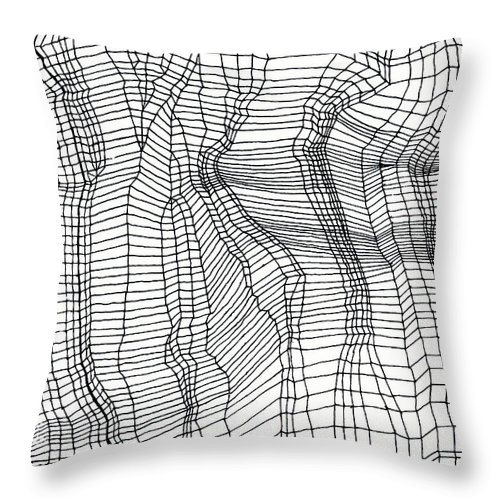 Contours Throw Pillow featuring the drawing Contours by Andy Mercer