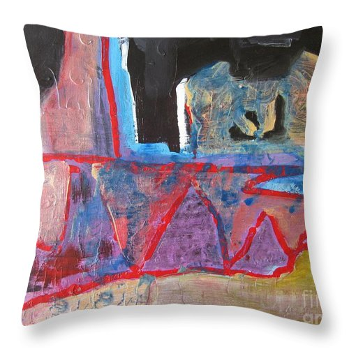 Abstract Paintings Throw Pillow featuring the painting Contradiction Of Time by Seon-Jeong Kim