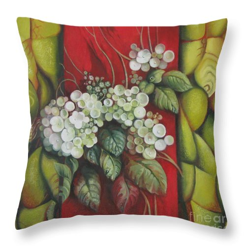 Abstract Throw Pillow featuring the painting Contrast by Elena Oleniuc