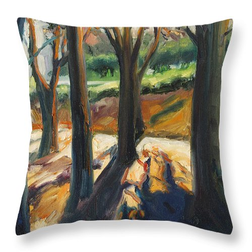 Trees Throw Pillow featuring the painting Contrast by Rick Nederlof
