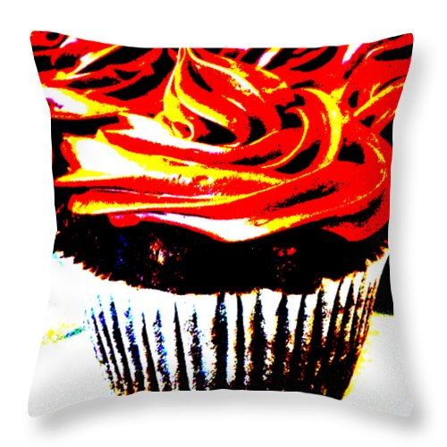 Cupcake Throw Pillow featuring the digital art Contrasted Cupcake by Stephanie Campbell