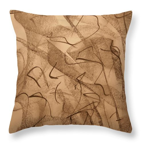 Abstract Throw Pillow featuring the drawing Contrite by David Barnicoat