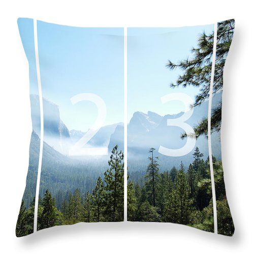 El Capitan Throw Pillow featuring the digital art Controlled Burn of Yosemite panoramic map by Michael Bessler