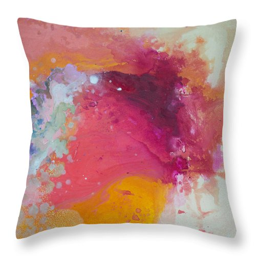 Abstract Throw Pillow featuring the painting Controlled Chaos by Claire Desjardins