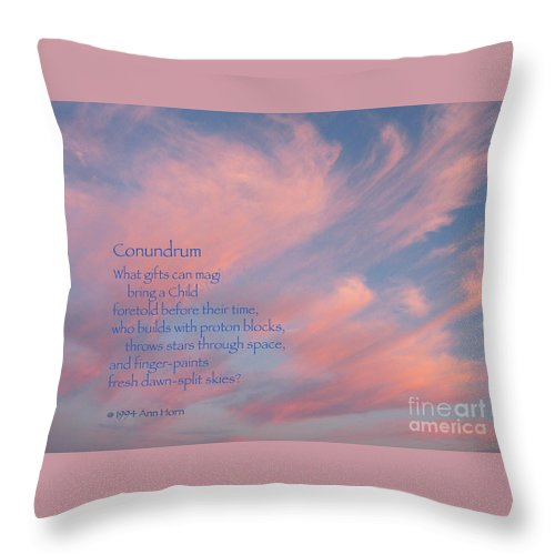 Sky Throw Pillow featuring the photograph Conundrum by Ann Horn