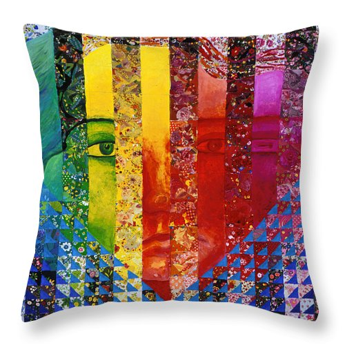 Colorful Throw Pillow featuring the mixed media Conundrum I - Rainbow Woman by Diane Clancy