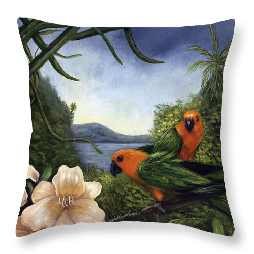 Landscape Throw Pillow featuring the painting Conures by Anne Kushnick
