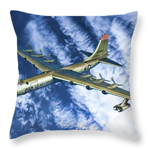 Convair B-36 Peacemaker Throw Pillow featuring the digital art Convair B36 - Oil by Tommy Anderson