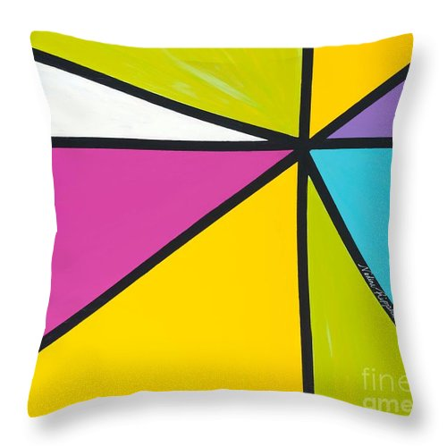 Lines Throw Pillow featuring the painting Convergence by Nadine Rippelmeyer
