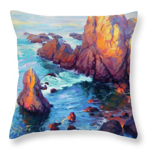 Ocean Throw Pillow featuring the painting Convergence by Steve Henderson