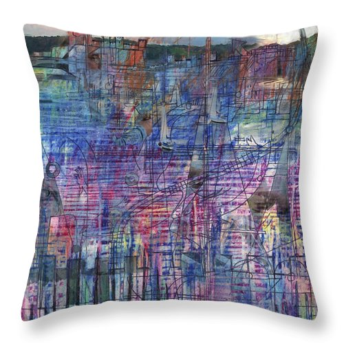 Conwy Throw Pillow featuring the digital art Conwy by Andy Mercer