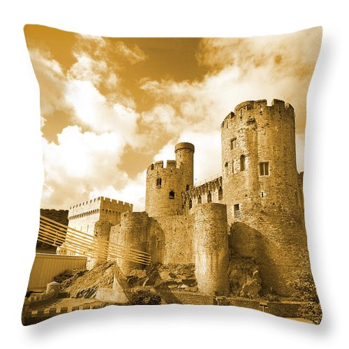 Castle Throw Pillow featuring the photograph Conwy Castle And The Telford Suspension Bridge North Wales by Mal Bray