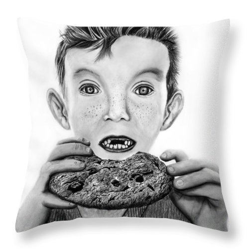 Cookie Surprise Throw Pillow featuring the drawing Cookie Surprise by Peter Piatt