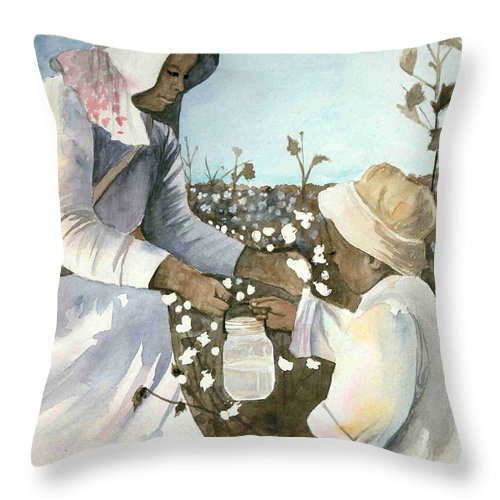 Black Americana Throw Pillow featuring the painting Cool  Clear  Water by Kim Sutherland Whitton