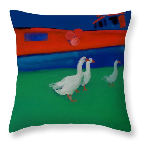 Geese Throw Pillow featuring the painting Cool And Dry by Charles Stuart