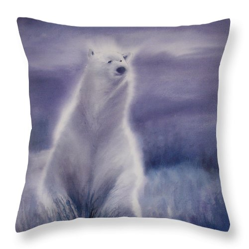 Bear Throw Pillow featuring the painting Cool Bear by Allison Ashton