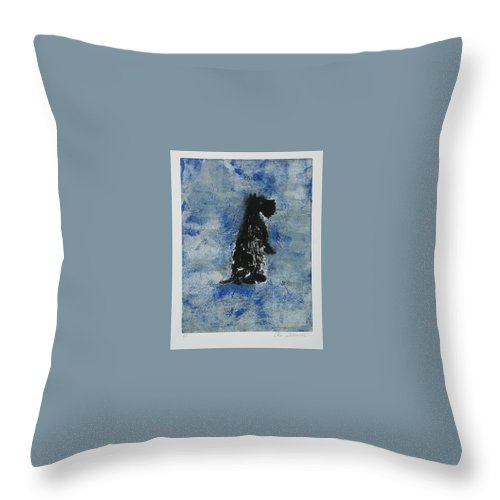 Monotype Throw Pillow featuring the mixed media Cool Blue by Cori Solomon