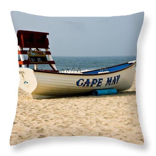 Beach Throw Pillow featuring the photograph Cool Cape May Beach by Louis Dallara