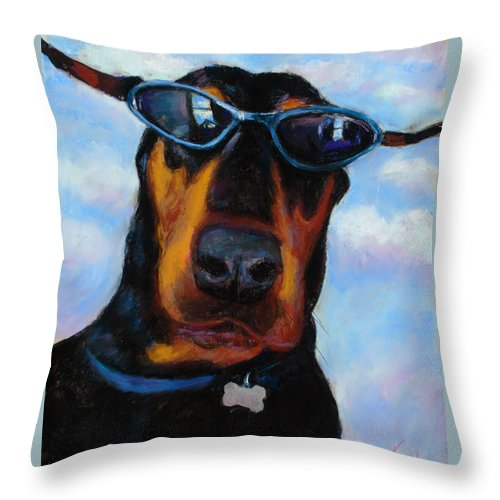 Doberman Pincher Art Throw Pillow featuring the painting Cool Dob by Billie Colson