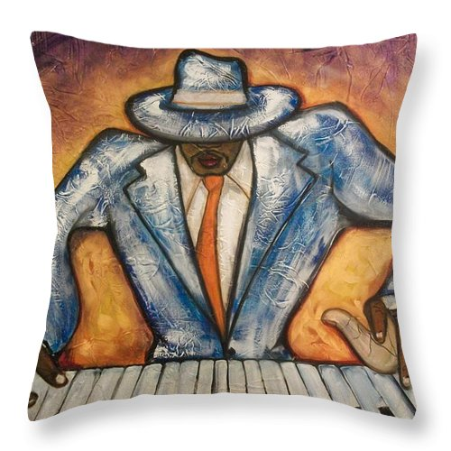 Emery Franklin Throw Pillow featuring the painting Cool by Emery Franklin