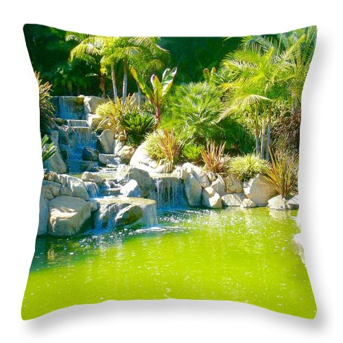Throw Pillow featuring the photograph Cool Green Waterfall by Jacqueline Manos