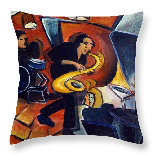 Jazz Throw Pillow featuring the painting Cool Jazz by Valerie Vescovi