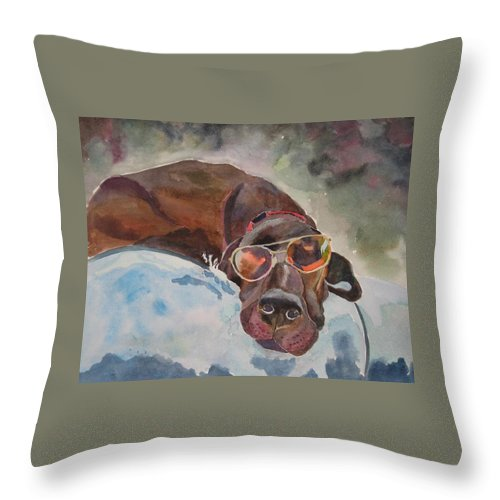 Dog Throw Pillow featuring the painting Cool Lab With Sunglasses by Brenda Kennerly