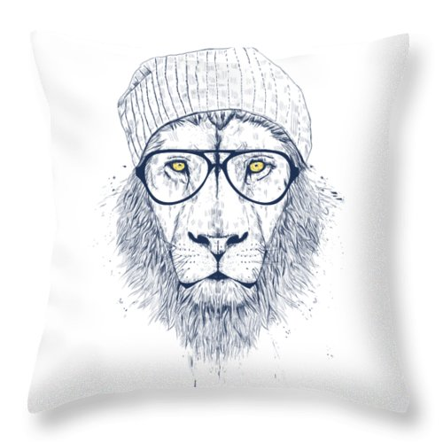 Lion Throw Pillow featuring the drawing Cool lion by Balazs Solti