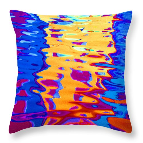 Abstract Throw Pillow featuring the pastel Cool Meets Warm by Donna Corless