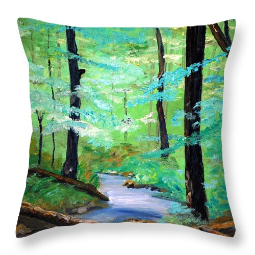 Mountain Stream Water Serenity Nature Plien Air Woods Landscape Wallow Trails Trees Foilage Summer Throw Pillow featuring the painting Cool Mountain Stream by Phil Burton