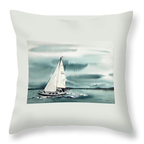 Sailing Throw Pillow featuring the painting Cool Sail by Gale Cochran-Smith