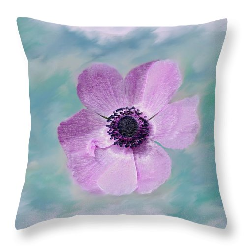 Flowers Floral Macro Nature Gardens Pink Purple Blue Green White Petals Spring Flowers Throw Pillow featuring the photograph Cool Spring by Linda Sannuti