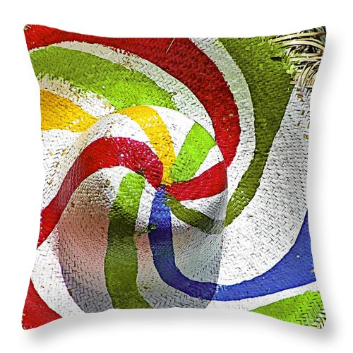 Straw Throw Pillow featuring the photograph Cool Summer Hat by Christine Till