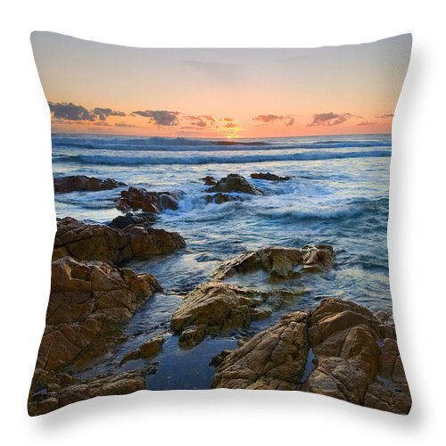 Seascape Throw Pillow featuring the photograph Coolum Dawn by Mike Dawson