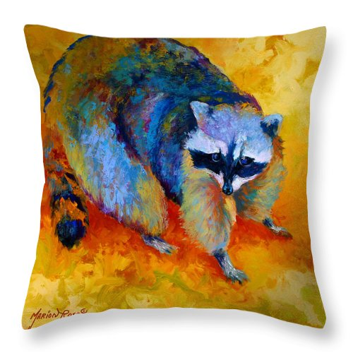 Racoon Throw Pillow featuring the painting Coon by Marion Rose