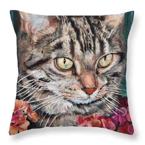 Cat Throw Pillow featuring the painting Cooper The Cat by Portraits By NC