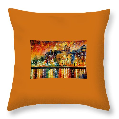 City Throw Pillow featuring the painting Copenhagen Original Oil Painting by Leonid Afremov