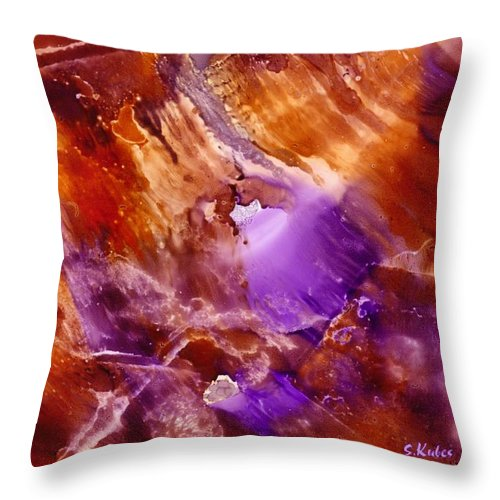 Abstract Throw Pillow featuring the painting Copper and Amethyst II by Susan Kubes