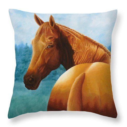 Oil Throw Pillow featuring the painting Copper Bottom - Quarter Horse by Pauline Sharp