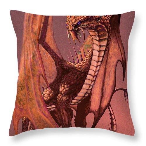 Dragon Throw Pillow featuring the digital art Copper Dragon by Stanley Morrison