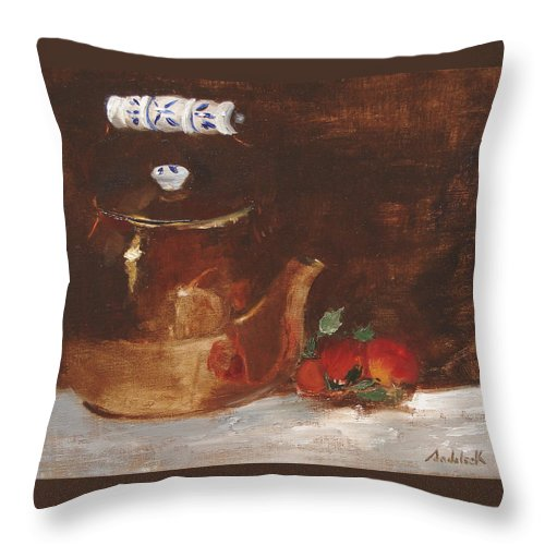 Kitchen Throw Pillow featuring the painting Copper Kettle by Barbara Andolsek